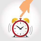 Hand turns off red alarm clock. Time to wake up concept. Vector illustration.