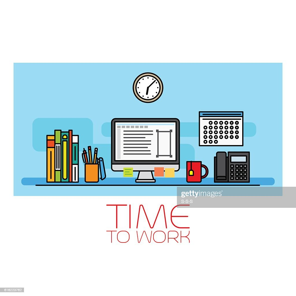 Time to work horizontal banner : Vector Art