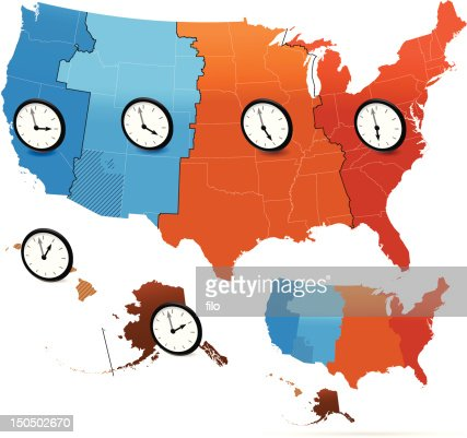 Usa Time Zones Vector Vector Art Getty Images - Us map time zones printable