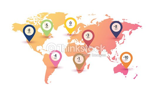 Time Zones World Map On Color Gradient Background Vector Art ...