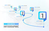 Timeline infographic 6 milestone like a road. Business concept infographic template. Vector illustration.