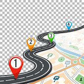 Business Concept with Timeline Road Infographics, Map and Pin Pointers on Transparent Background. Flat style icons. Isolated Vector Illustration