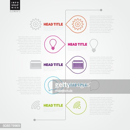 Timeline Vector Infographic template made from lines : Vectorkunst