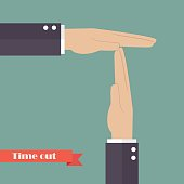 Timeout signal hand. Vector illustration