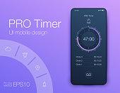 Timer clock application UI design concept. Stock vector