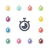timer flat icons set. Open colorful buttons