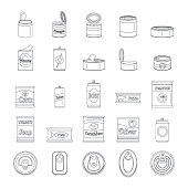 Tin can food package jar icons set. Outline illustration of 25 tin can food package jar vector icons for web