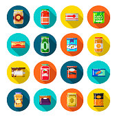 Tinned goods set. Food preserved sealed in a tin, preserve or pack to keep for a long time. Vector flat style cartoon illustration isolated on white background