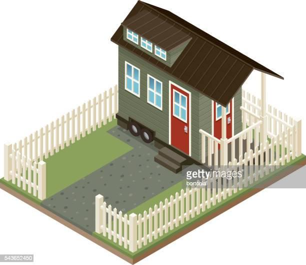 Kleines isometrische Haus-Symbol mit Garten und Gartenzaun