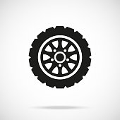 Tire icon. Car wheel. Vector icon isolated on gradient background