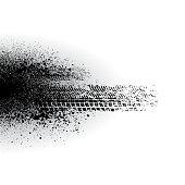 White background with black tire track splash. eps10
