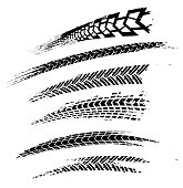 Motorcycle tire tracks vector illustration. Grunge automotive element useful for poster, print, flyer, book, booklet, brochure and leaflet design. Editable graphic image in black color isolated on a w