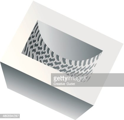 Tire Tread Cube C : Vector Art