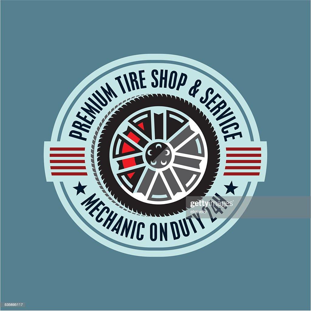 tires service sign : Vector Art