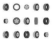 Tires, wheel disks auto service vector icons. Auto black wheel, illustration of automobile rubber wheel