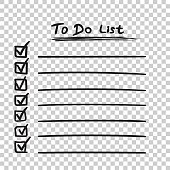 To do list icon with hand drawn text. Checklist, task list vector illustration in flat style on isolated background.