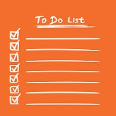 To do list icon with hand drawn text. Checklist, task list vector illustration in flat style on orange background.