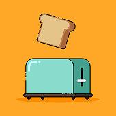 Toaster with toast flat design, vector illustration