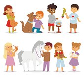 Toddler cartoon kids characters petting little pet in and cute kind child feeding animals friends in the zoo friendship vector illustration. Love fun people smile portrait playful domestic face.