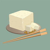 Tofu cheese on plate with chopsticks isolated. Healthy chinese nutrition food. Fermented bean curd, soy cheese is form of processed, preserved tofu made from soybean. Realistic vector illustration