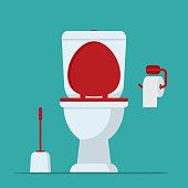Toilet. Toilet bowl, toilet paper and brush for toilet bowl. Vector illustration