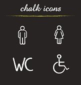 WC toilet door signs. Restroom chalk icons set. Vector. Man and woman silhouette and disabled wheelchair