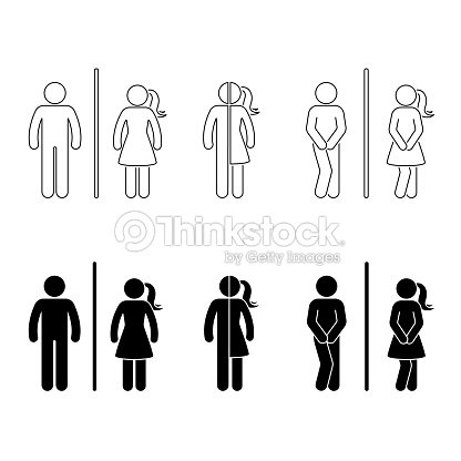 Toilet Male And Female Icon Stick Figure Vector Funny Wc Restroom Set On White Vector Art