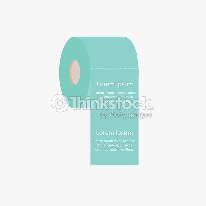toilet paper roll icon with dash line flat design template vector