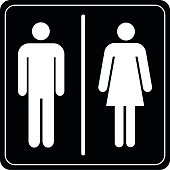 Toilet sign man and lady on vector background