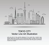 Line Art Vector Illustration of Modern Tokyo City with Skyscrapers. Flat Line Graphic. Typographic Style Banner. The Most Famous Buildings Cityscape on Gray Background.