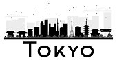Tokyo City skyline black and white silhouette. Vector illustration. Simple flat concept for tourism presentation, banner, placard or web site. Business travel concept. Cityscape with landmarks