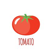 Tomato in flat style. Tomato vector logo. Tomato icon. Isolated object. Vegetable from the farm. Organic food. Vector illustration. Tomato on white background