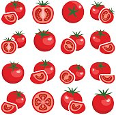 Tomato collection - vector color illustration