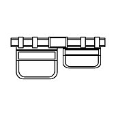 flat lin uncolored tool belt over white background  vector illustration