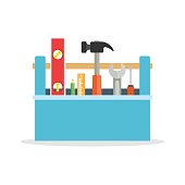 Toolbox with tools. icon in flat style. Vector illustration of hand tools.
