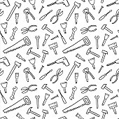 Tools background - seamless texture. DIY and woodworking tools vector.