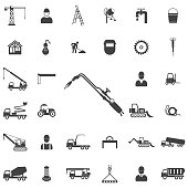 tools for cutting metal and heating products. Construction icons universal set for web and mobile