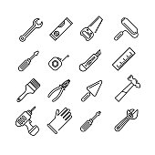 Tools icons set. Outline style. Elements for print, mobile and web applications.