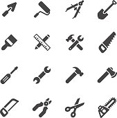 Construction and repair tools icons