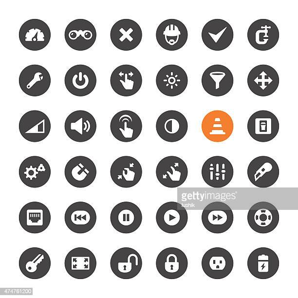 Tools, Settings and Control Panel vector icons