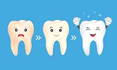 Yellow and white teeth. Dental care concept, illustration isolated on blue background.