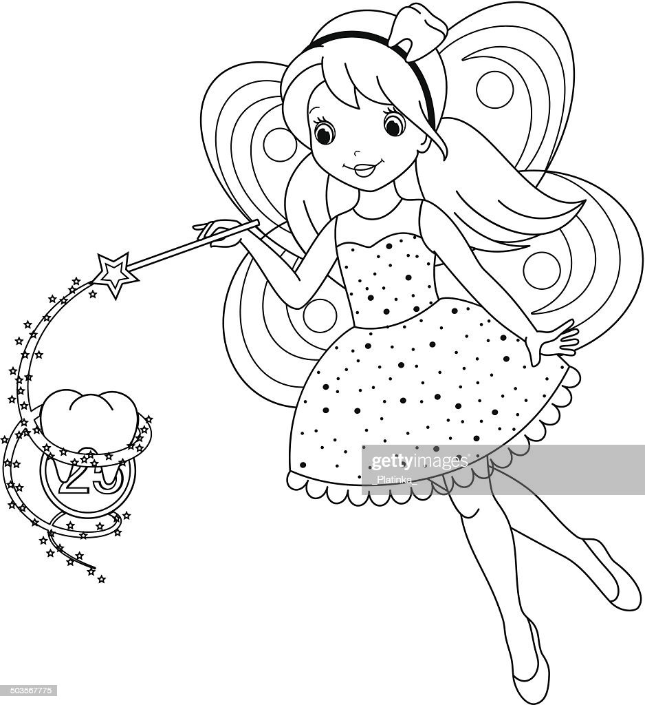 Tooth Fairy Coloring Page Vector Art