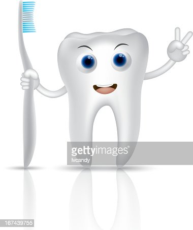 Tooth holding a toothbrush : Vector Art