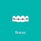Teeth with braces image isolated on white background. Orthodontic braces flat icon for web and mobile, modern minimalistic flat design. Vector illustration.
