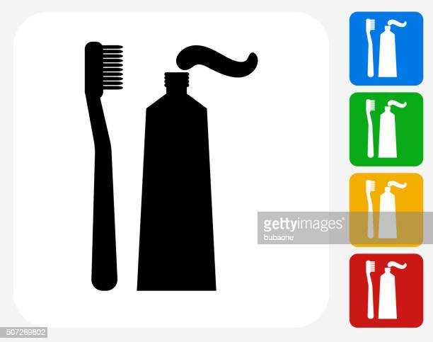 Toothbrush and Paste Icon Flat Graphic Design