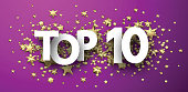 Top 10 sign with gold stars. Rating or hit-parade header. Vector background.