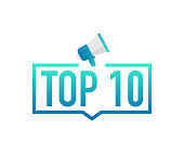 Top 10 - Top Ten colorful label on white background. Vector stock illustration.