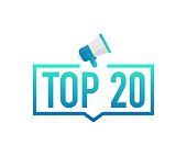 Top 20 - Top twenty colorful label on white background. Vector stock illustration.