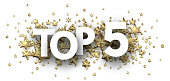 Top 5 sign with gold stars. Rating or hit-parade header. Vector background.