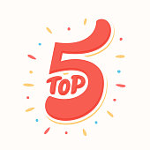 Top 5. Hand lettering. Vector hand drawn illustration.